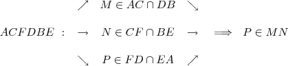 ACFDBE\ :\ \begin{array}{c}\nearrow\\